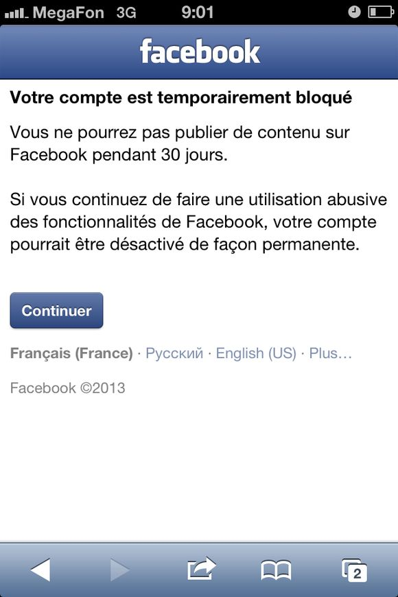 30 days ban on Facebook